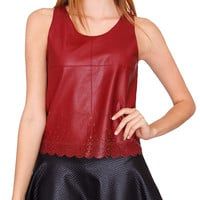 Bloody Laser Cut Leather Tank Top - Burgundy
