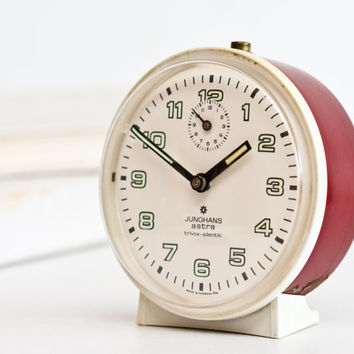 German Alarm Clock, Junghans Astra Trivox Silentic Clock, Desk Clock, Wind Up Clock, Mechanical Clock, White Bordeaux Red, ohtteam