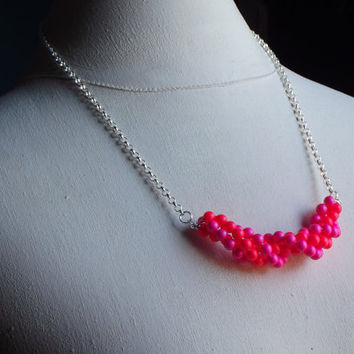 Neon Statement Necklace:  Hot Pink & Bright Red Neon Jewelry, Spring Prom, Wedding