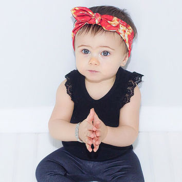 Baby Turban Headband - Baby Head Band - Toddler Headband - Headband for Newborn - Girl's Headband - Knotted - Pizza Headband