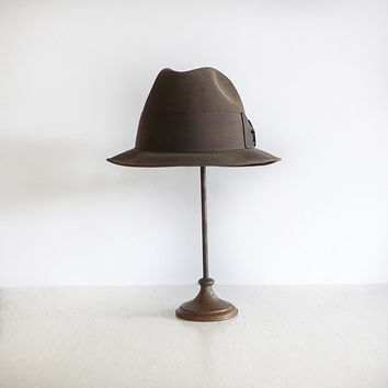 Vintage Fedora Brown Mens Hat Hipster 60s Hat Mens Accessories Dobbs Fifth Avenue- Size 7 1/8 or 7 1/4