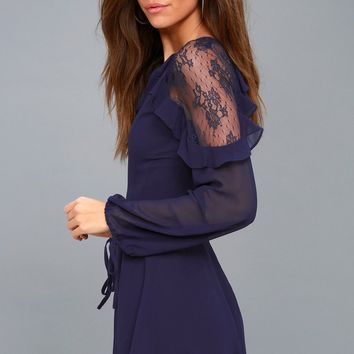 City of Love Navy Blue Lace Long Sleeve Skater Dress
