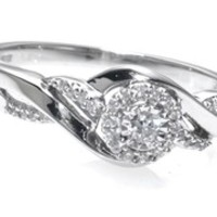 1/6 CT. T.W. Diamond Frame Wave Promise Ring in 10K White Gold - View All Rings - Zales