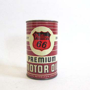 20% OFF SALE Vintage Phillips 66 Coin Bank~Miniature Motor Oil Can Tin Advertising