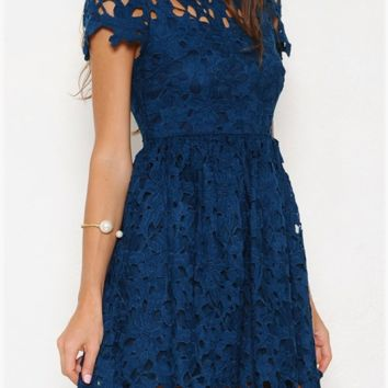 final sale - floral lace applique dress with cap sleeves in teal