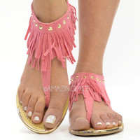 Pink Coral Fringe Ankle Sandals Suede Indian Summer