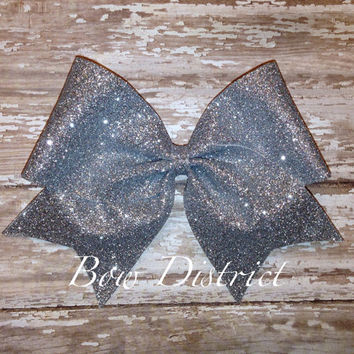 "2.25"" Silver Glitter Mini Cheer Bow"