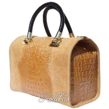 Italian Tan Genuine Leather Handbag with Crochodile Skin Deco
