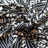 ITY Knit Fabric Palm Leaves Print Black and Cream by Maggy London HALF YARD (45 cm)