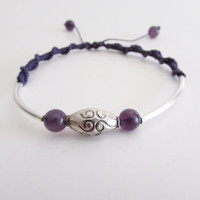 Amethyst Sterling Silver Tube Bracelet, Boho Chic Women Jewelry, Purple Friendship Wristlet