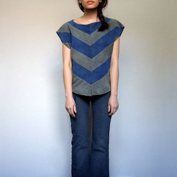 70s Chevron Top Oversized Tshirt Suede Leather Grey Blue Stripe Top - Medium Large M/ L