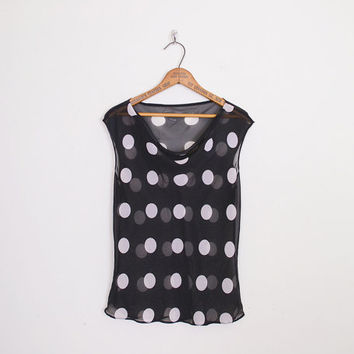 Black & White Polka Dot Blouse Black Polka Dot Print Blouse Sheer Blouse Cowl Neck Blouse Rockabilly Blouse Pin Up Blouse S Small M Medium