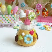 Snow, Globe, Glass, Dome, Candy, Gift, Display, donut, Biscuit, Sweets, Candies, Barbie, Blythe, Dal, 1:6, Kawaii, Cute, Pullip, BJD, yosd