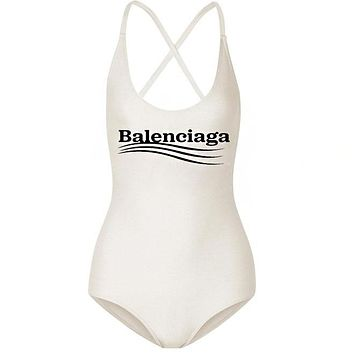 Balenciaga Hot Sale Women Sexy Letter Print One Piece Bikini Swimsuit Bodysuit White