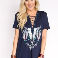 Free Spirit Lace Up Graphic Tee