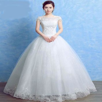 Summer Lace Sequined Romantic Wedding Dresses One Neck Simple White Grown