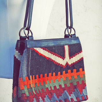 Vintage Ethnic Kilim and Leather Tote Handbag