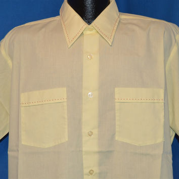 70s Van Cort Pale Yellow Button Down Shirt Extra Large