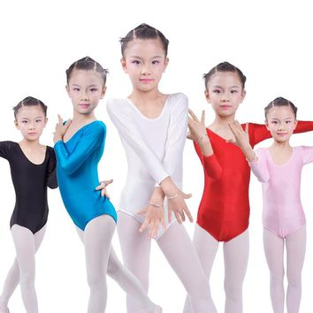 Long Sleeve Ballet Leotards for Girls Bodywear Stretch Spandex Children Dance Leotards Turnpakje  justaucorps gymnastique fille