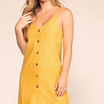 Leave A Message Mustard Button Dress