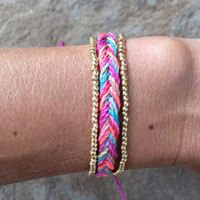 1 string braided bracelet with two strands of permanent finish beads, braided bracelet, stackable bracelet, beaded bracelet - Pinky Day
