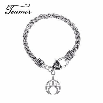 Teamer Restro Lunula Pendant Crescent Moon Bracelet Punk Male/Female Supernatural Steampunk Jewelry Lunitsa Amulet