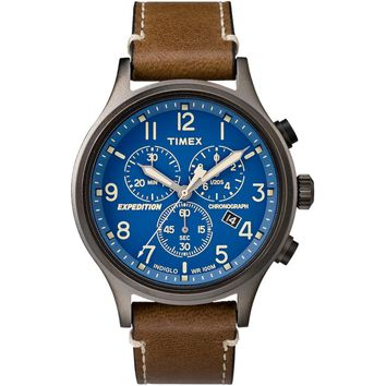 Timex Expedition Scout Chronograph Leather Watch - Blue Dial [TW4B09000JV]