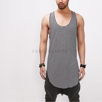 Mens XQUARE 23 Striped Extended Long Tank Top - 90cm at Fabrixquare