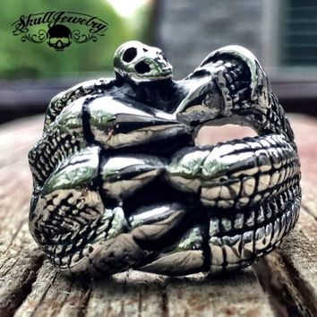 I'M FREE- Dragon Claw Holding a Skull Stainless Steel Ring (255)