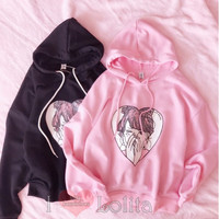 2 Colors Kawaii Pattern Hoodie LK17081504 from lolita store
