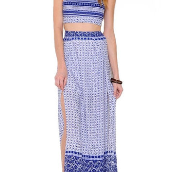 Mykonos Crop Top Maxi Skirt Two Piece Set - Blue + White RESTOCKED!