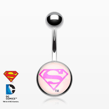 Pink Superman Basic Belly Button Ring