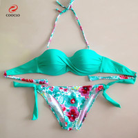 hot sale fashion floral print bikini bandeau top sexy bikini women swimwear multi color biquinis brazilian new style swimsuit
