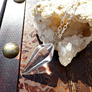 Clear Quartz pendulum dowsing Reiki Chakra pendant, silver bail and silver plated chain necklace.