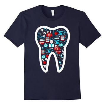 Dentist T Shirt Funny Molar Tee With Dental Icons