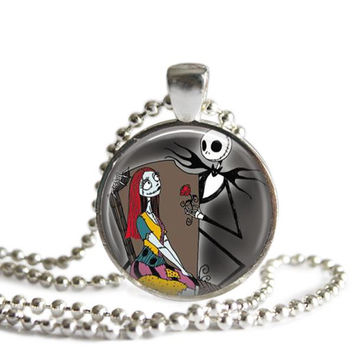 Jack and Sally Silver Plated Picture Pendant The Nightmare Before Christmas Necklace