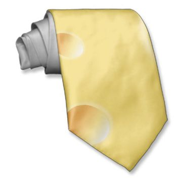 Yellow Swiss Cheese Texture Neck Tie from Zazzle.com