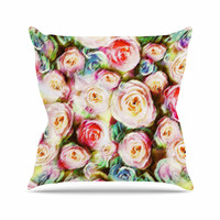 "Dawid Roc ""Pastel Rose Romantic Gifts"" Green Photography Throw Pillow"