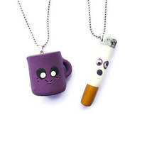 Best Friends Necklace Set, Kawaii Necklace, Friendship gift, Eco friendly jewelry, Worried Cigarette and Happy Coffee Cup, Under 30