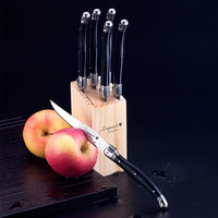 6pcs 9 inch Black Laguiole Style Stainless Steel Steak Knives w/ Wooden Base Classical Kitchen Cutlery Set Flatware