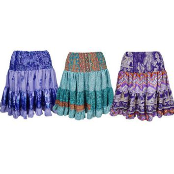 Mogul Funky Summer Printed Skirt Vintage Silk Sari Full Flare Boho Fashion Gypsy Hippy Chic Skirts Wholesale Lots Of 3 - Walmart.com