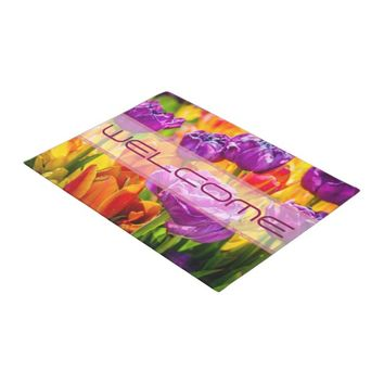 Colorful tulips positive doormat