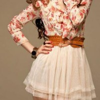 FLORAL LOVE FASHION DAY DRESS W/ BELT