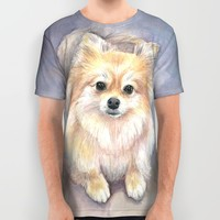 Pomeranian Watercolor All Over Print Shirt by Olechka