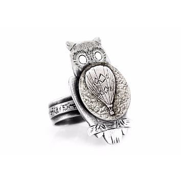 coin ring with the Hot Air Balloon coin medallion on owl flying jewelry ahuva