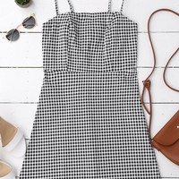 Back Zipper Checked Slip Mini Dress