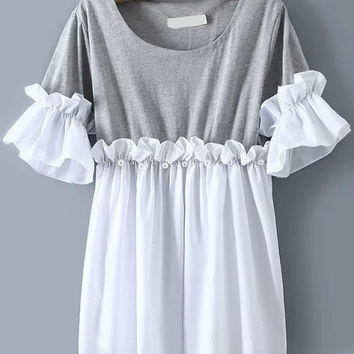 Grey and White Color Block Ruffled Mini Dress with Jewel Embellished