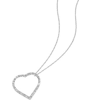 14K White Gold Diamond Fascination 18in Large Heart Necklace  18 Inch