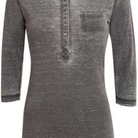 Marcy 3/4 Sleeve Buttoned Scoop Neck Top in Charcoal Grey