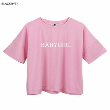 Women T Shirts BABYGIRL Letters Print Female Relaxed Top Shirts Short T-shirt